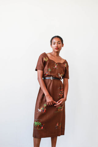 1950s Brown Linen Embroidered Dress