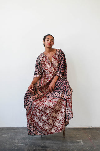 1970s Indian Cotton Boho Maxi Dress