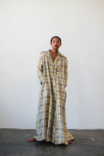 1940s Yellow Plaid Taffeta Dressing Gown