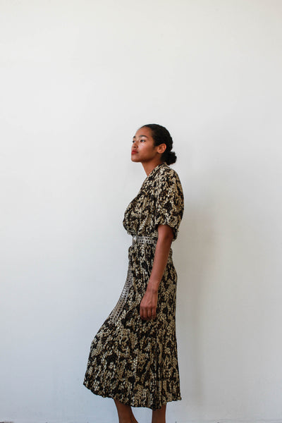 1980s Reptile Print Rayon Dress