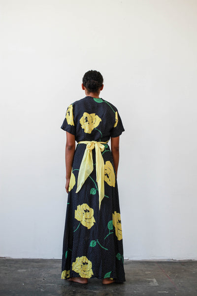 1940s Rayon Mixed Print Wrap Lounge Dress