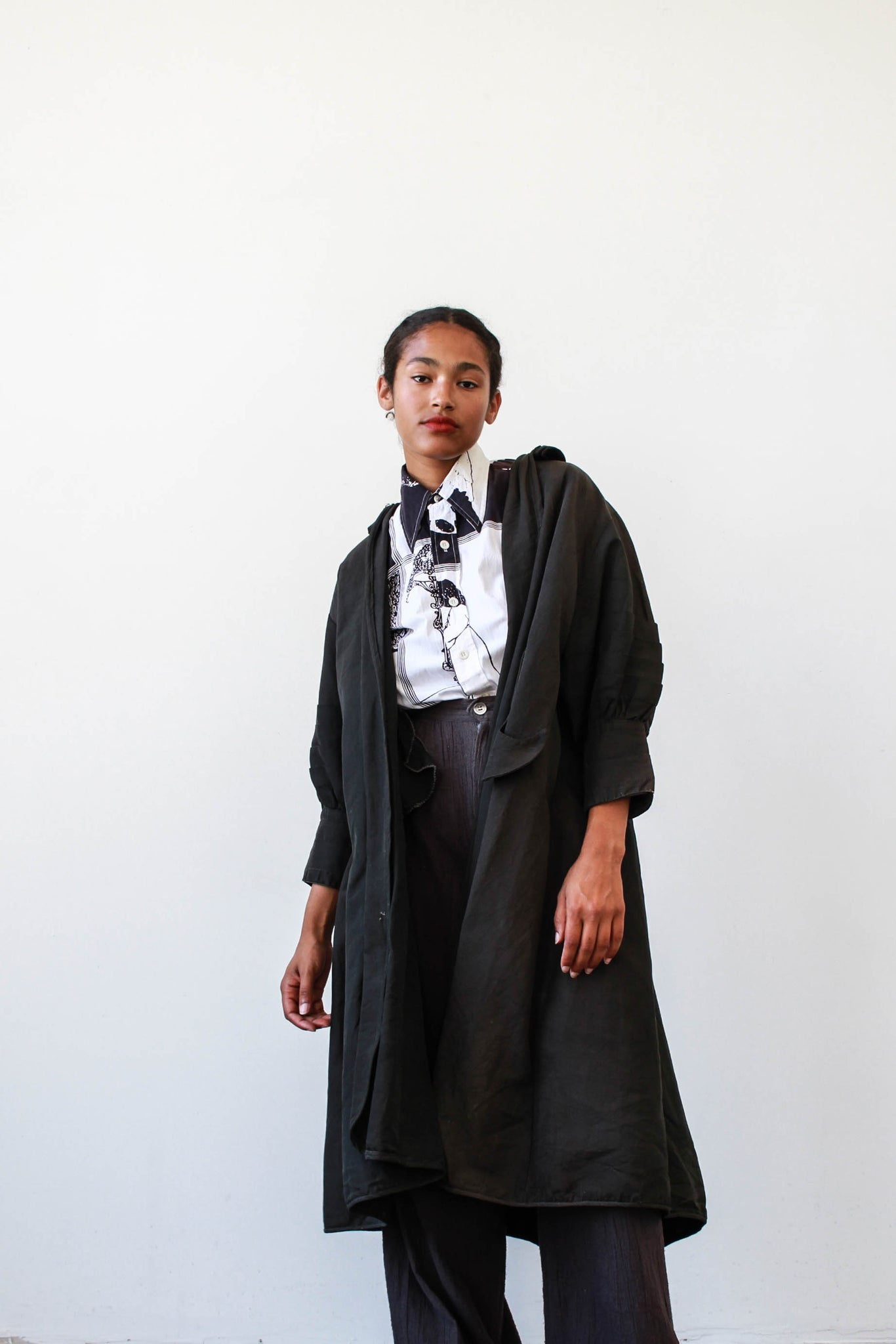 1940s Black Taffeta Coat