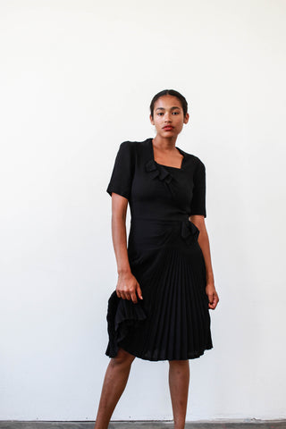 1940s Black Rayon Crepe Pleat Dress