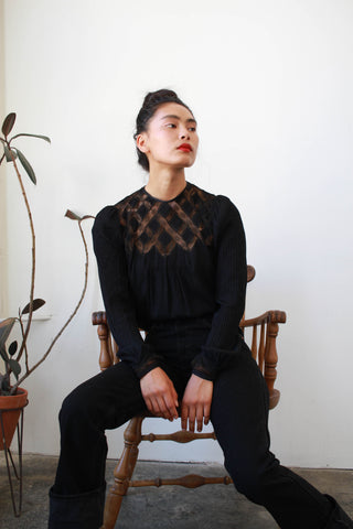 Victorian Black Chiffon Silk Long Sleeve Blouse
