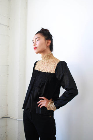Victorian Black Satin Lace Yolk Long Sleeve Blouse