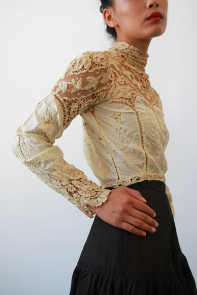 Edwardian Tea-Stained Irish Crochet Lace Blouse