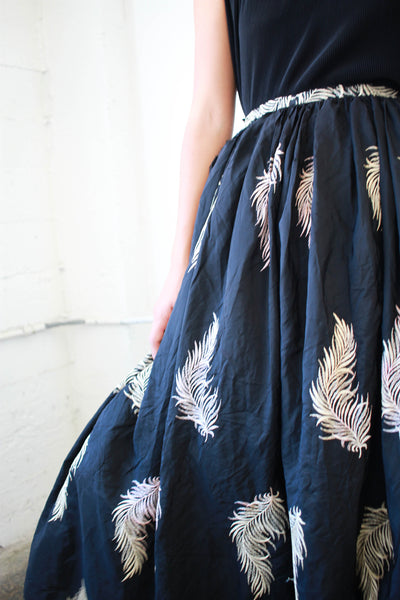 Edwardian Black Silk Embroidered Tulle Skirt