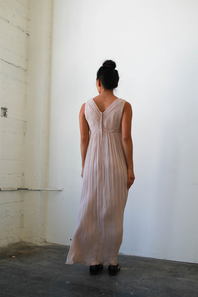 1990s Dusty Rose Chiffon Silk Dress