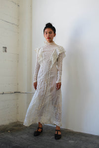 Edwardian Mixed Lace Ecru Lawn Dress