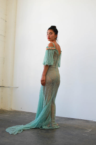 1930s Teal Alencon Lace Off Shoulder Gown