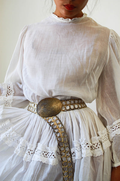 Edwardian White Bell Sleeve Cotton Dress
