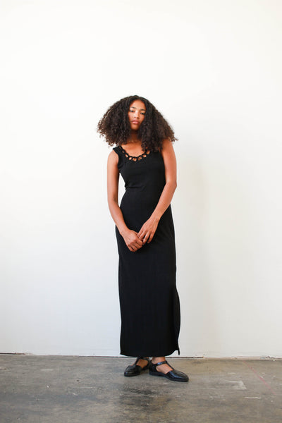 1990s Black Slinky Maxi Dress