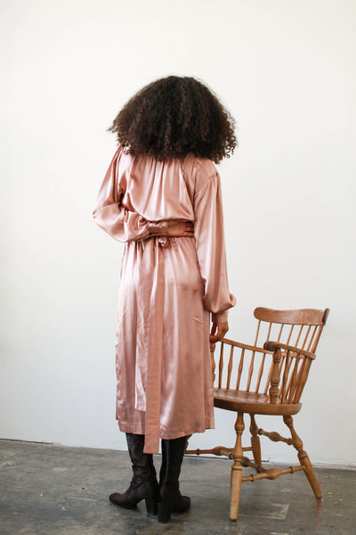 1980s Rose Metallic Silk Wrap Dress