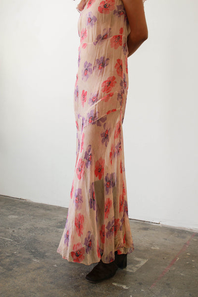 1930s Pink Chiffon Floral Print Dress