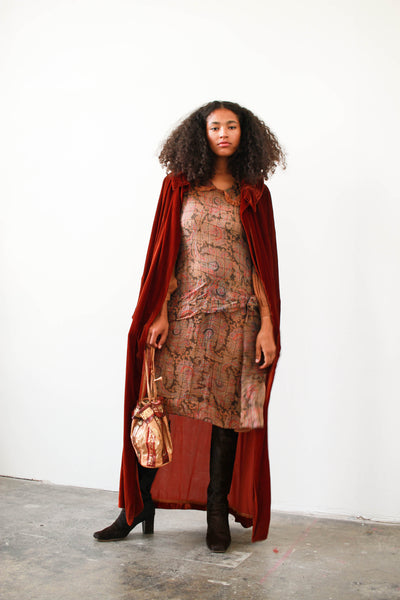 1920s Rust Velvet Long Coat