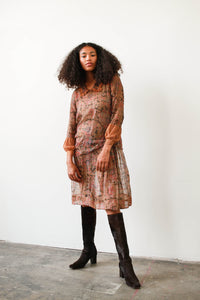 1920s Paisley Print Sheer Dress
