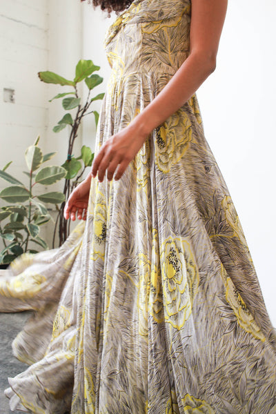 1940s Sofie Original Canary Floral Print Gown