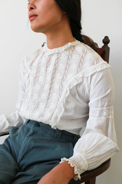 Edwardian White Cotton Lace Blouse