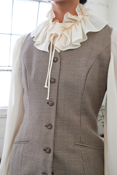 1990s Ann Taylor Houndstooth Wool Vest Dress