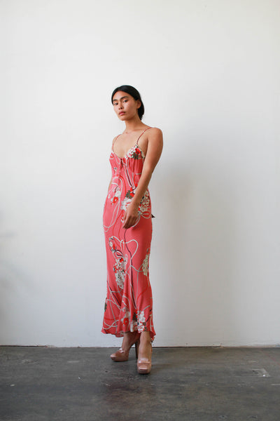 1990s Pink Print Rayon Bias Dress