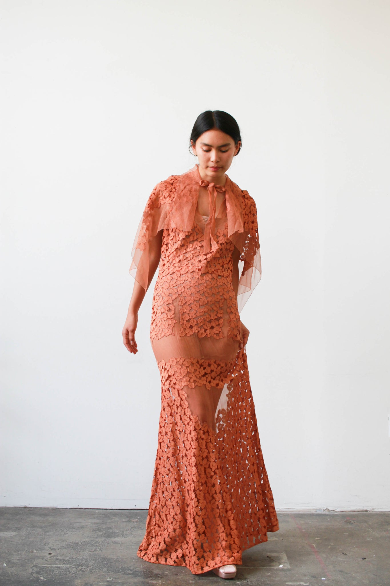 1930s Terracotta Lace Paneled Gown