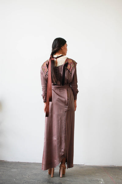 Antique Edwardian Eggplant Satin Embroidered Dress