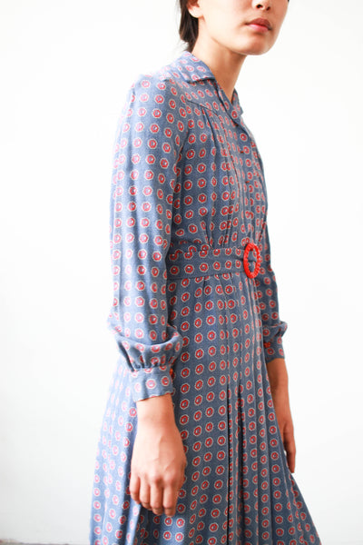 1930s Periwrinkle Cotton Print Pleated Day Dress