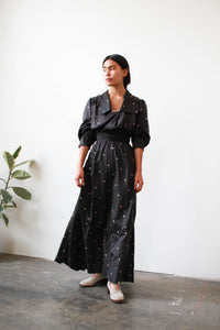 Victorian Black Silk Print Two Piece Set