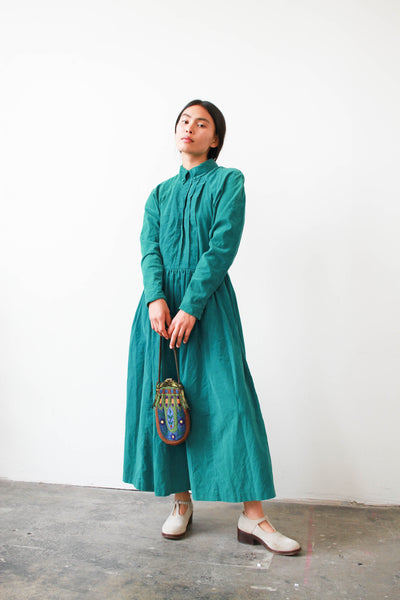 1980s Laura Ashley Turquoise Corduroy Dress