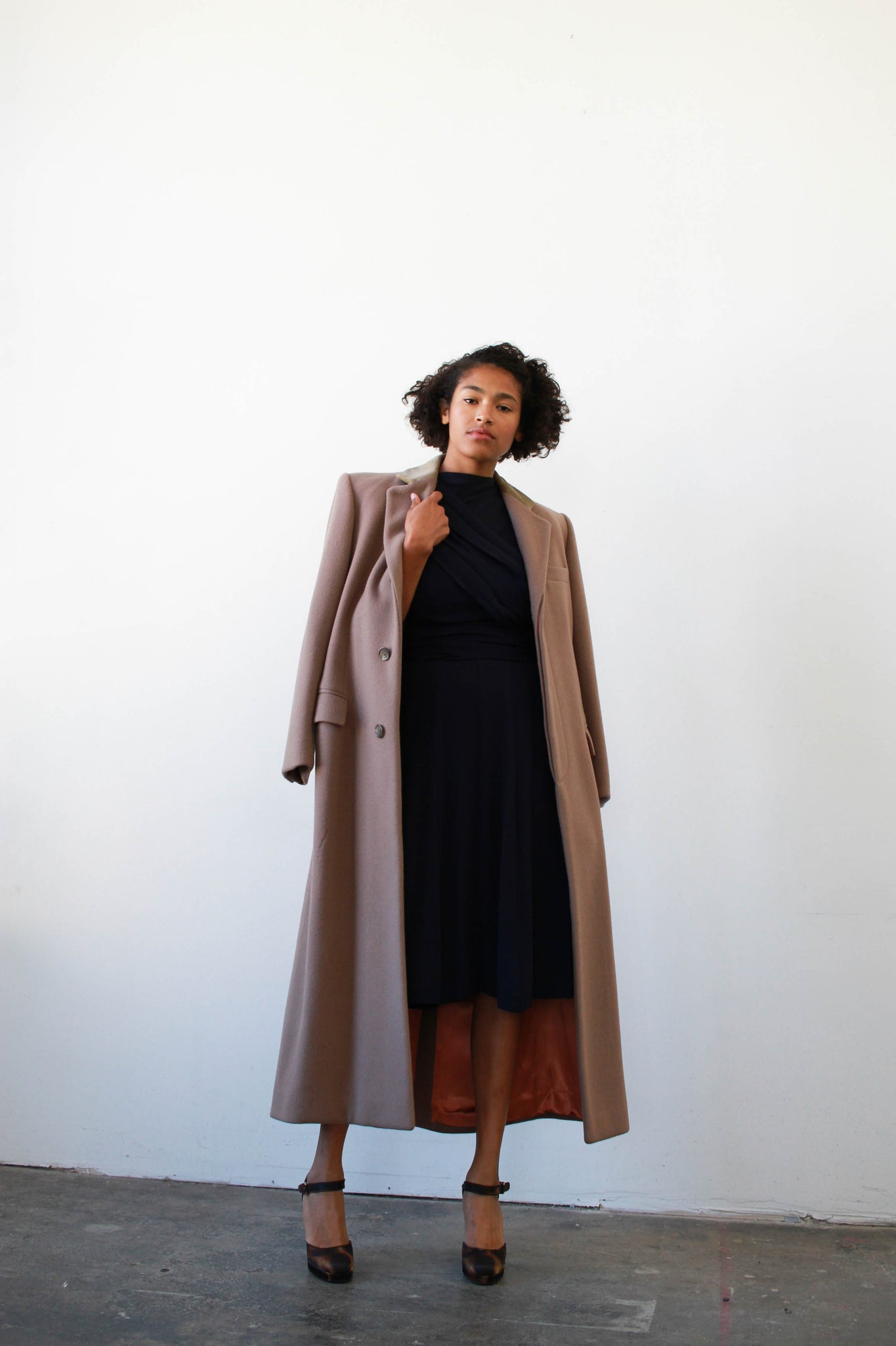 1980s Ralph Lauren Quartz Wool Structured Long Coat