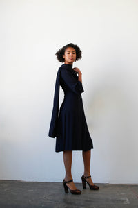 1940s Midnight Blue Rayon Crepe Draped Dress