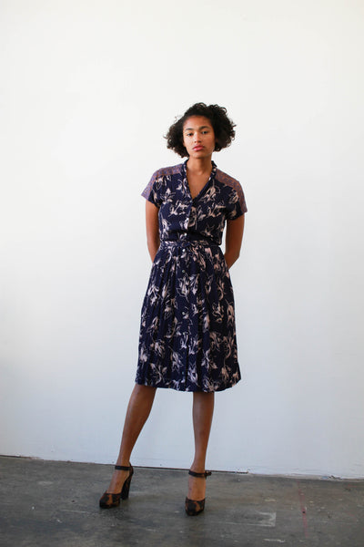 1940s Plum Rayon Print Dress