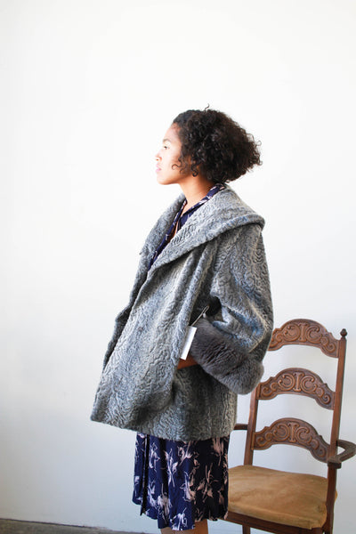 1950s Grey Persian Lamb Swing Coat