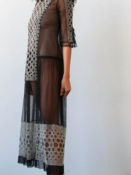 1920s Black Mesh Circle Embroidered Dress