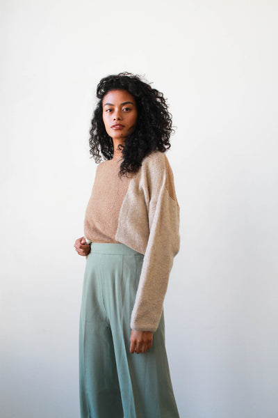 1980s Soft Wool Two-Tone Sweater