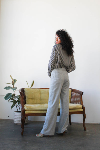 1980s Ralph Lauren Heather Grey High Waist Trousers