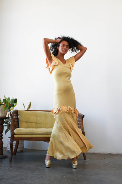 1930s Yellow Gold Satin Pleated Gown