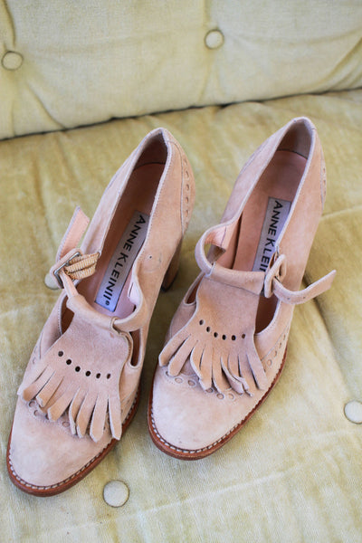 1980s Anne Klein Tan Suede Loafer Heels | 36