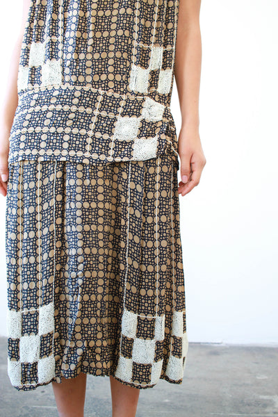 1920s Checkered Beaded Silk Flapper Dress