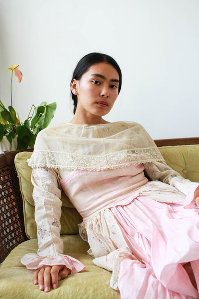 Edwardian Pink Lace Collared Draped Dress