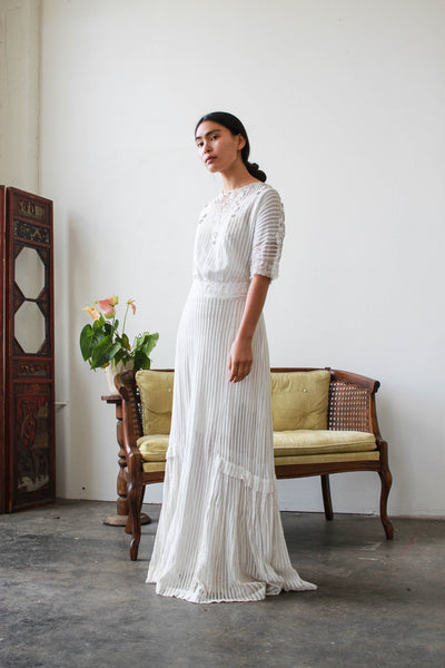 Edwardian White Pleated Net Lace Lawn Dress