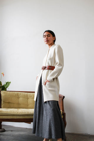 1960s Bone White Knit Long Cardigan