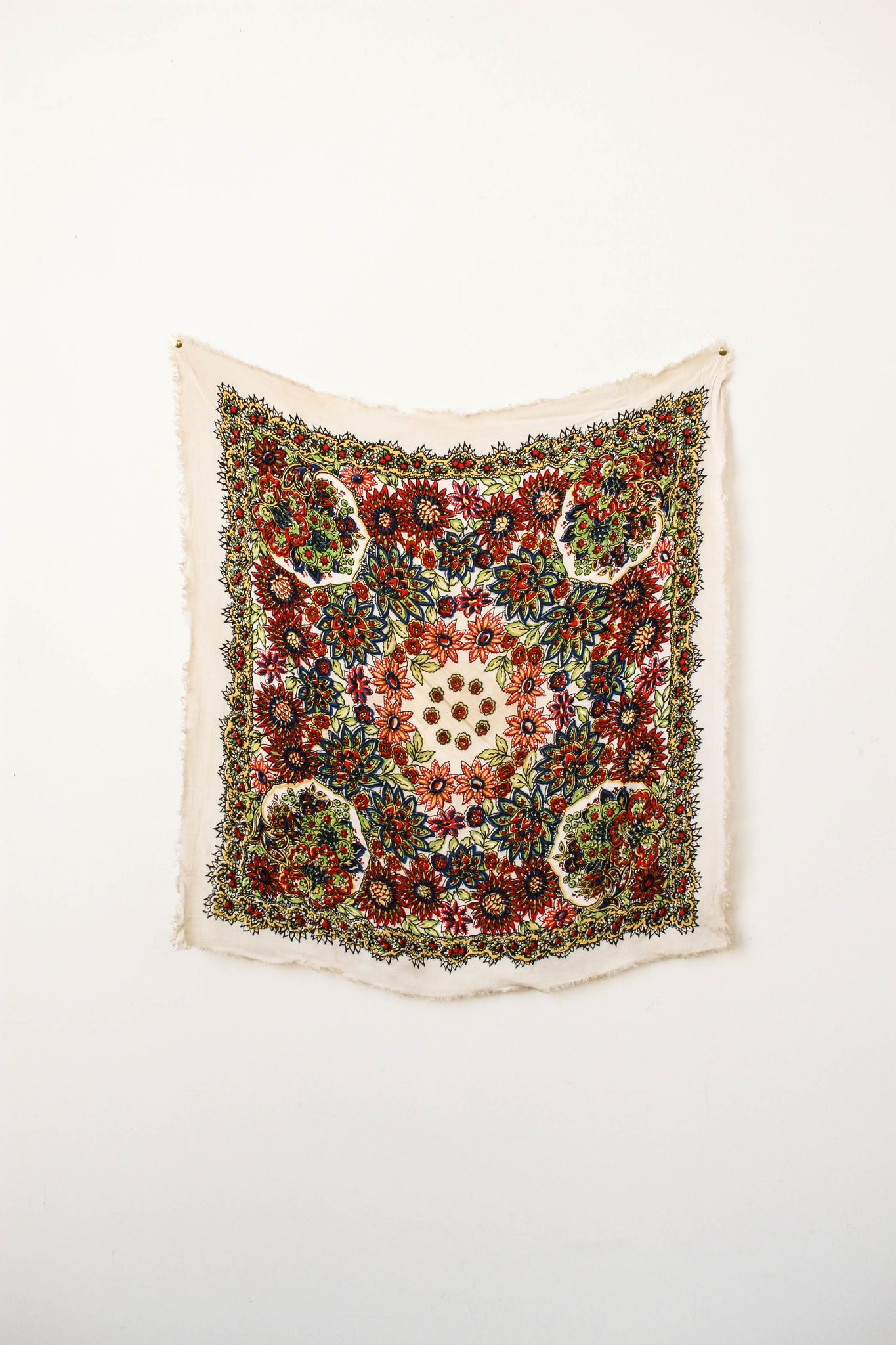 1970s Cotton Woven Paisley Print Scarf