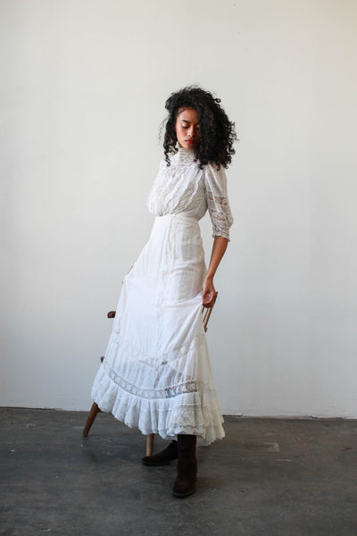 Edwardian White Cotton Swiss Dot Lawn Dress