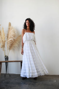1960s White Mexican Lace Tiered Dress