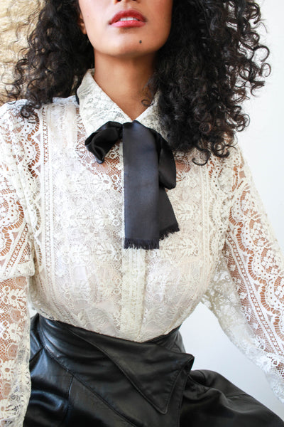1980s DKNY White Lace Button Up Blouse