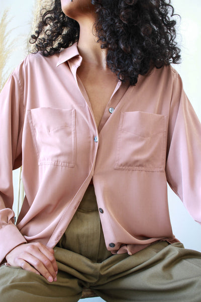 1980s Jaegar Rose Button Up Blouse