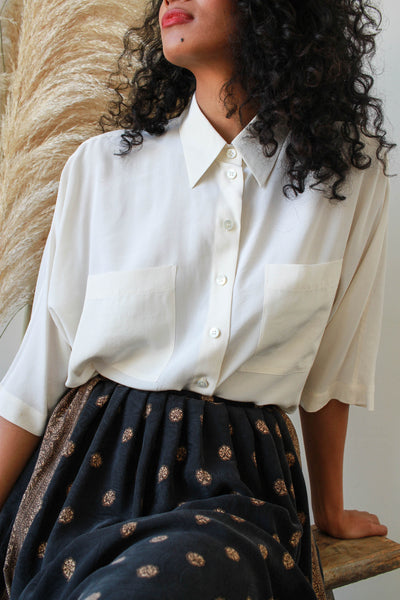 1980s Mondi Silk Cream Boxy Button Up Blouse