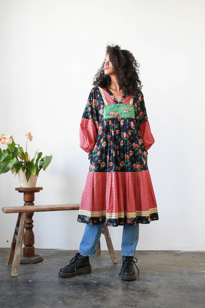 1980s Imagnin Patchwork Floral Boho Dress