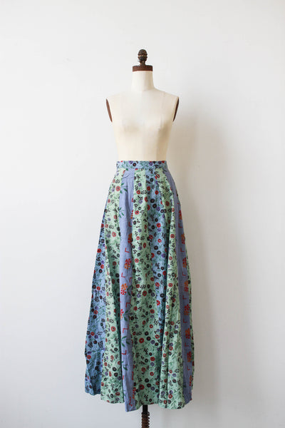 1970s Deadstock Indian Cotton Patchwork Maxi Skirt
